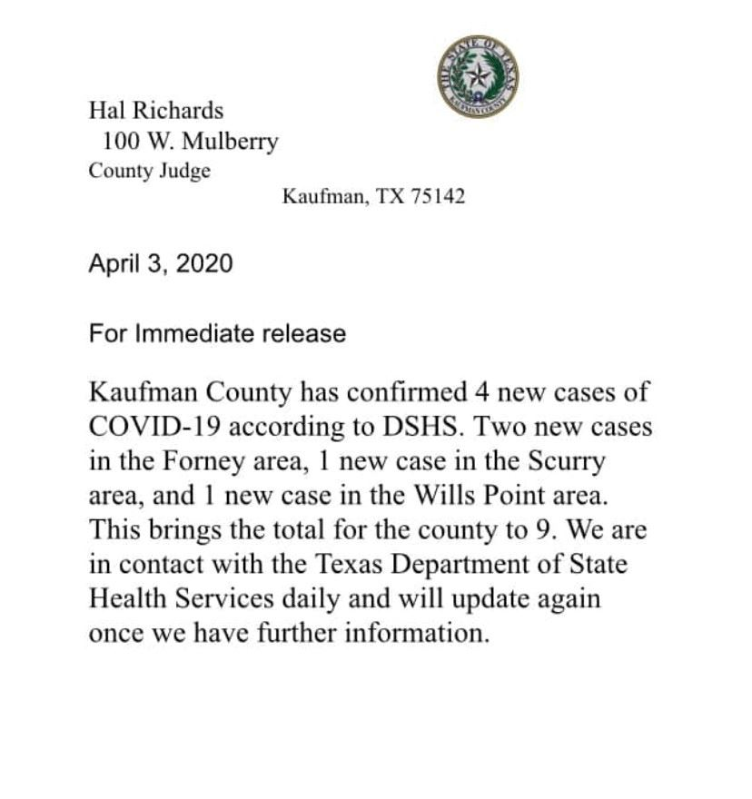 Kaufman County Update April 3, 2020